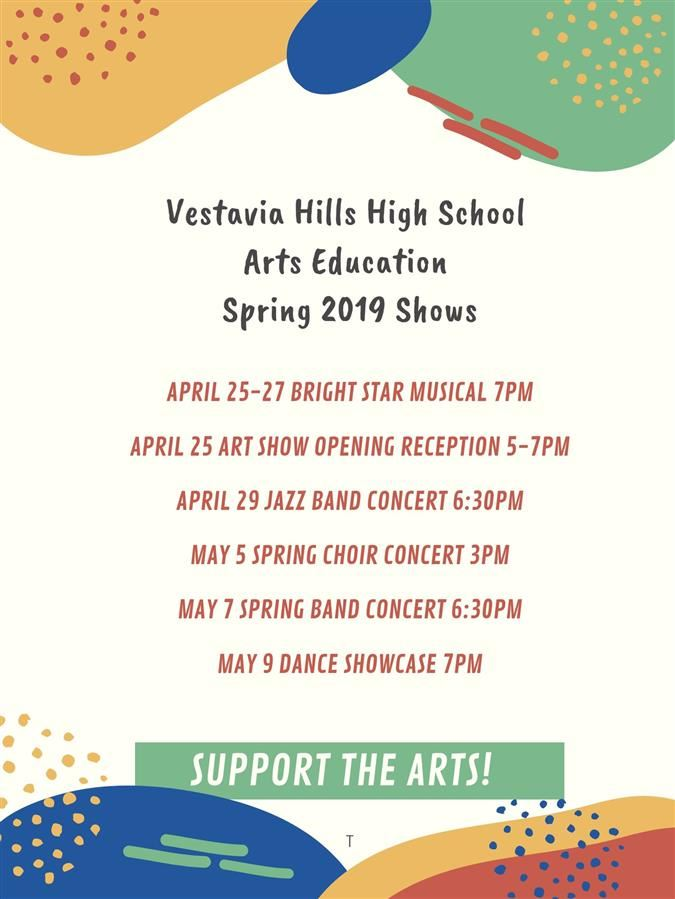 VHHS spring 2019 arts shows